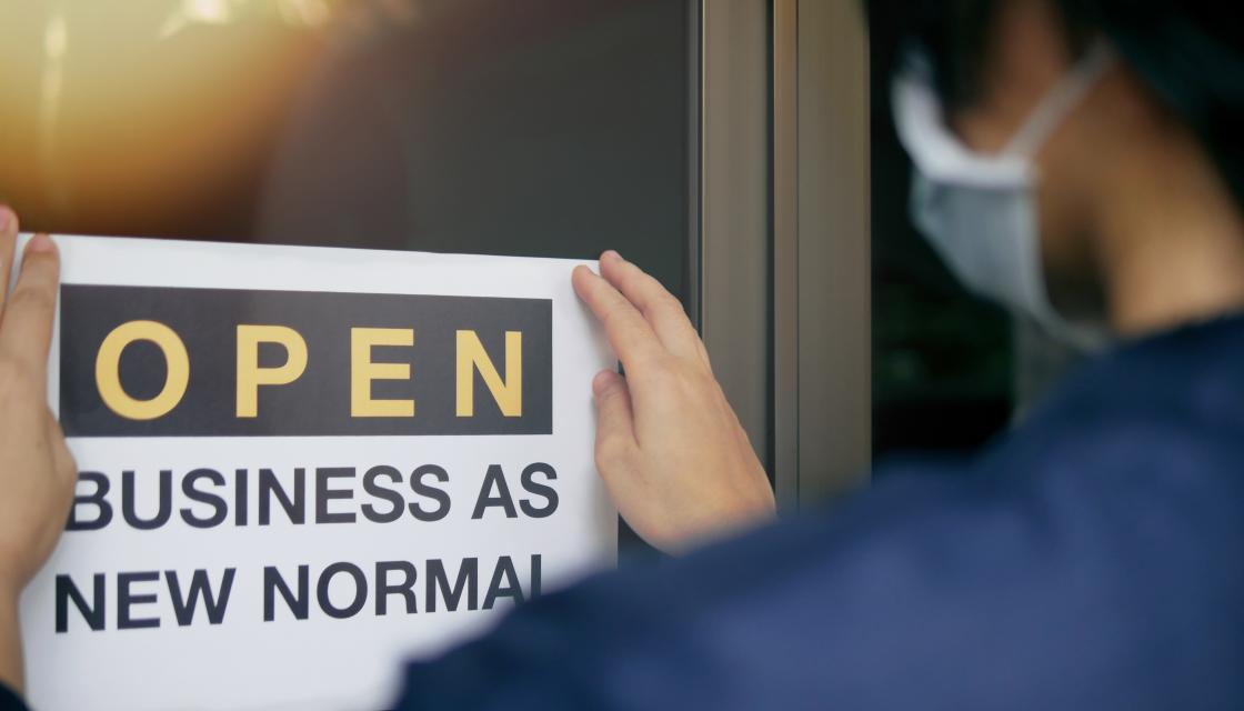Business as new normal sign