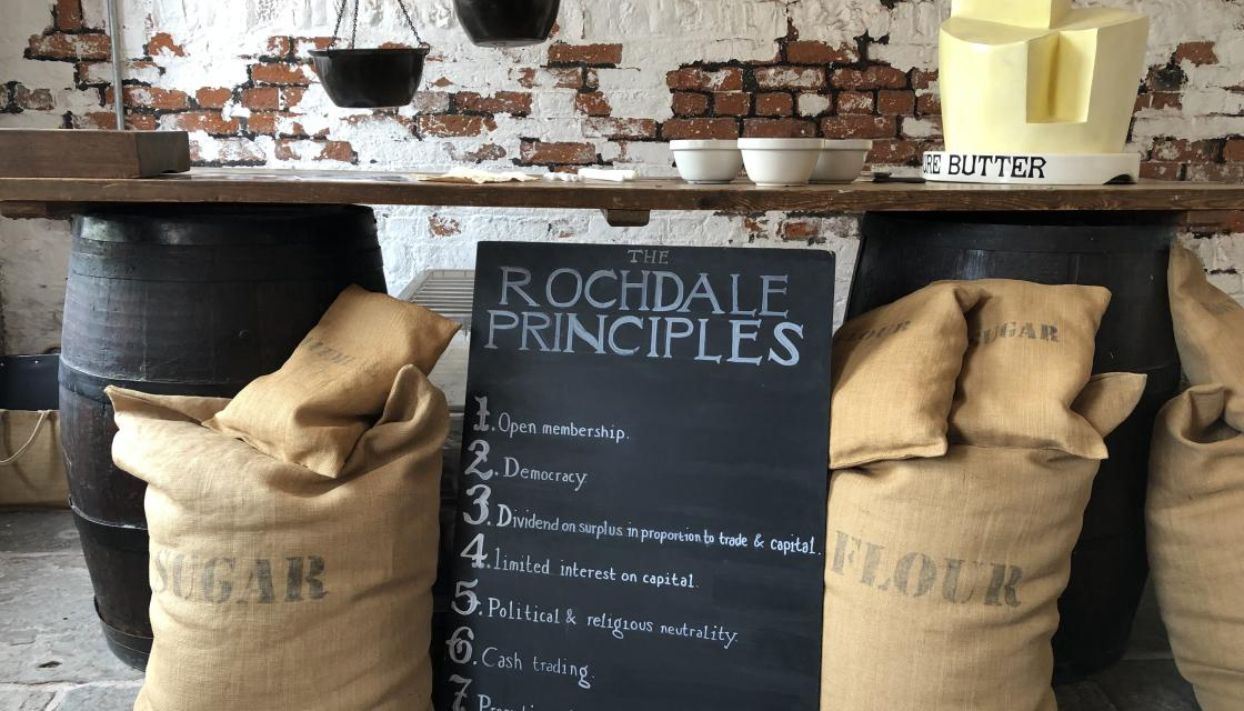 The Rochdale principles written on a blackboard
