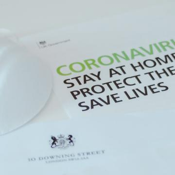Coronavirus leaflet and mask