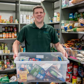 Man working in a food bank